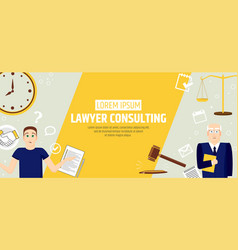 lawyer consulting a banner template of a law firm vector image