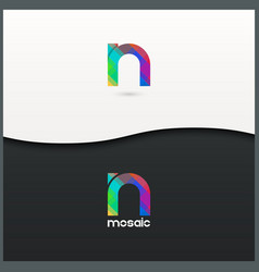 Letter N logo alphabet mosaic icon set background vector
