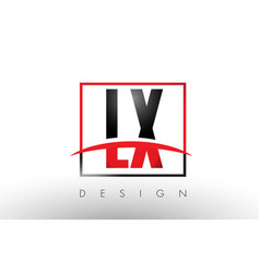 lx l x logo letters with red and black colors and vector image