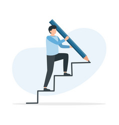 man is climbing career ladder climbing up to the vector image