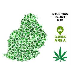 marijuana mosaic mauritius island map vector image