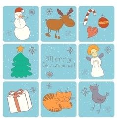 Merry Christmas Happy companions vector image