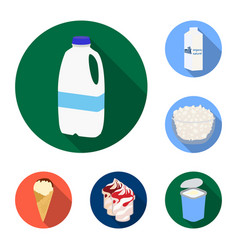 milk product flat icons in set collection for vector image
