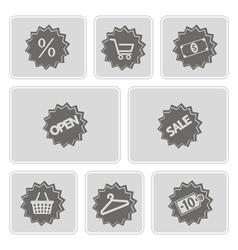 Monochrome shopping icons vector