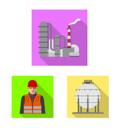 Oil and gas icon set of vector
