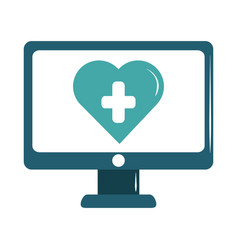 Online doctor computer medical technology care vector
