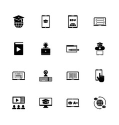 online education - flat icons vector image