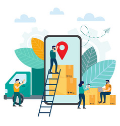 online tracking the movement of parcels in a vector image