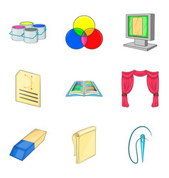 painter icons set cartoon style vector image