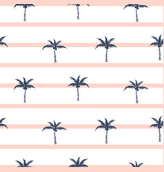 palm trees blue and pink striped retro style vector image