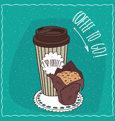 Paper cup of coffee with muffin in brown paper vector
