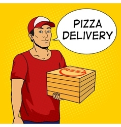 Pizza delivery guy pop art vector