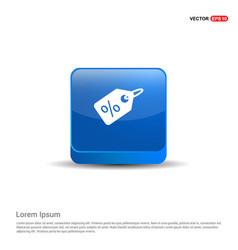 Price tag icon - 3d blue button vector