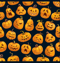 pumpkin lanterns halloween seamless pattern vector image