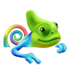 Rainbow chameleon pointing down vector