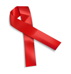 red aid ribbon icon realistic style vector image