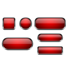 red buttons set 3d glass icons with chrome frame vector image