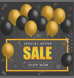 Sale poster with shiny balloons on dark background vector