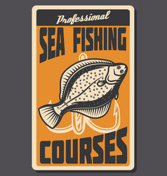 Sea fishing courses retro banner of fish and hook vector