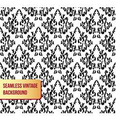 seamless damask black ornament on white background vector image