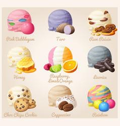 set cartoon icons ice cream scoops vector image