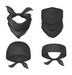 set isolated bandanna and face mask vector image