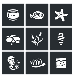 Set of Aquarium Icons Capacity fish vector image