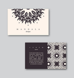 Set of business cards with hand drawn mandala vector