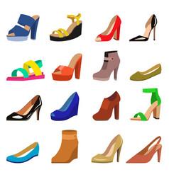 set womens shoes flat design vector image