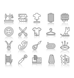 Sewing simple black line icons set vector