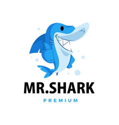 shark thumb up mascot character logo icon vector image