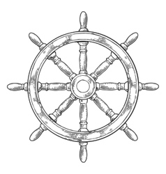 Ship wheel isolated on white background vector