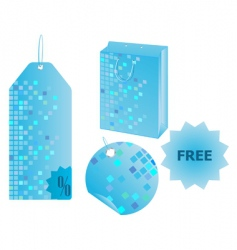 Shopping objects with mosaic design vector