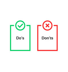 simple dos and donts like checklist vector image