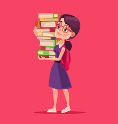 Smiling girl student character holds books vector