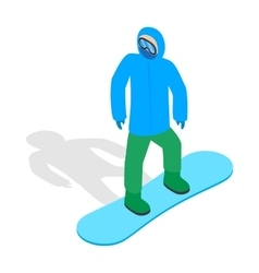 Snowboarder with snowboard deck icon vector