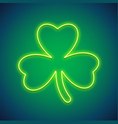 st patricks day clover neon sign vector image