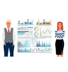 statistics graphs and charts people analytics vector image