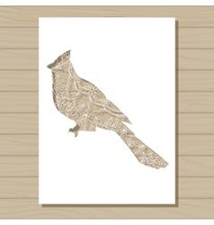 Stencil template of cardinal bird on wooden vector