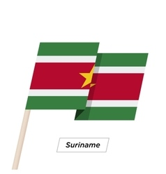 Suriname Ribbon Waving Flag Isolated on White vector image