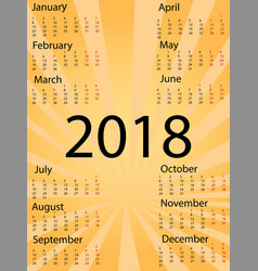 Template 2018 calendar sign pop-art comic style vector