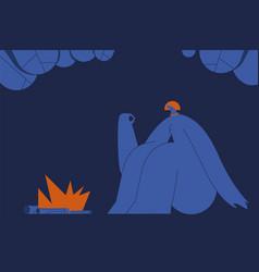 The girl near fire on modern background vector