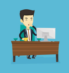 Tired employee yawning in office vector