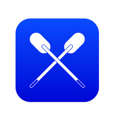 two wooden crossed oars icon digital blue vector image