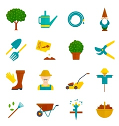 Vegetable garden flat icons set vector