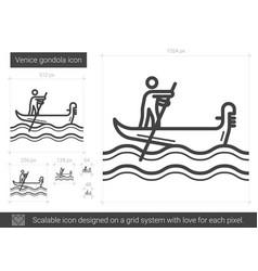 Venice gondola line icon vector