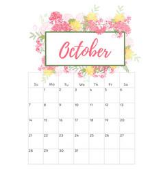 vintage floral calendar 2018 vector image