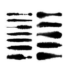 Watercolor fluffy brushes set vector