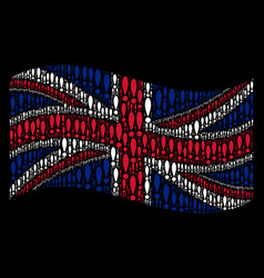waving great britain flag pattern of exclamation vector image
