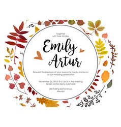 wedding autumn fall invite invitation floral vector image